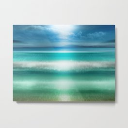 """Blue sky over teal sea South"" Metal Print"