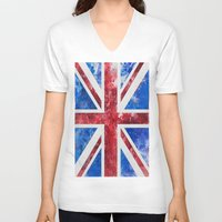 union jack V-neck T-shirts featuring Union Jack by LebensART