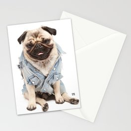 Helmut the Pug - Jean Jacket Stationery Cards