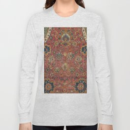 Persian Medallion Rug IV // 16th Century Distressed Red Green Blue Flowery Colorful Ornate Pattern Long Sleeve T-shirt