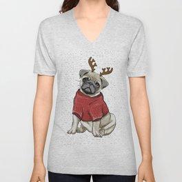 Reindeer Pug Unisex V-Neck