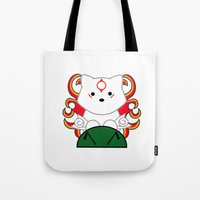 okami Tote Bags featuring Baby Okami by Murphis the Scurpix