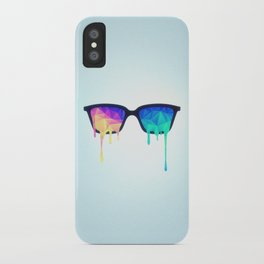 Psychedelic Nerd Glasses with Melting LSD/Trippy Color Triangles iPhone Case