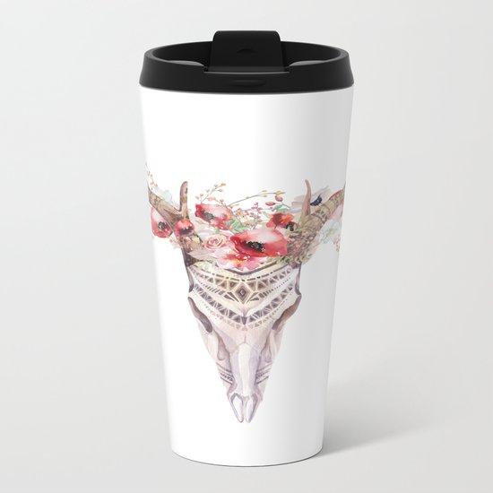 Poppy Tribal Skull Metal Travel Mug