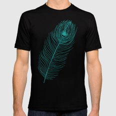 Peacock Feather MEDIUM Black Mens Fitted Tee