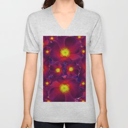 Dark Burgundy-Red-Yellow  Color Flower Pattern Art Design Unisex V-Neck