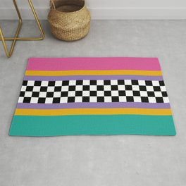 Checkered pattern grid / Vintage 80s / Retro 90s Rug