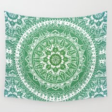 Green Mandala Pattern Wall Tapestry