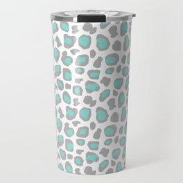 Leopard Animal Print Aqua Blue Gray Grey Spots Travel Mug
