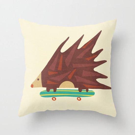 Hedgehog in hair raising speed Throw Pillow