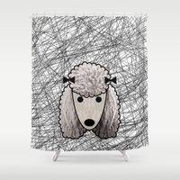 poodle Shower Curtains featuring Poodle Dog by lllg