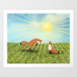 sunshine fox fun Art Print