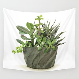 Watercolor Succulents Wall Tapestry