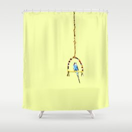 Parakeet Budgie on swing Shower Curtain