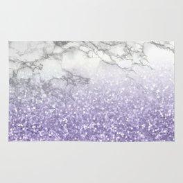 She Sparkles - Violet Purple Glitter Marble Rug
