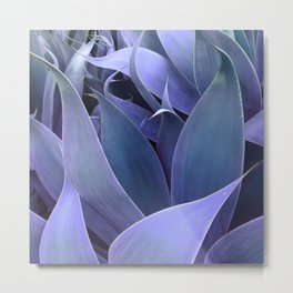 Abstract Leaves Periwinkle Teal Metal Print