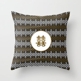 Double Happiness Symbol on Endless Knot pattern Throw Pillow