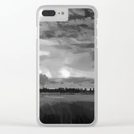 hurricane storm landscape digital oil painting akvop bw Clear iPhone Case
