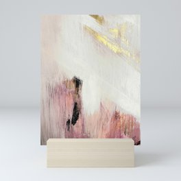 Sunrise [2]: a bright, colorful abstract piece in pink, gold, black,and white Mini Art Print