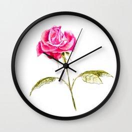 Hand drawn single rose Wall Clock