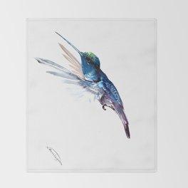 Hummingbird, Navy Blue Turquoise Artwork Throw Blanket