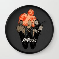 wrestling Wall Clocks featuring Attitude Wrestling  by RJ Artworks