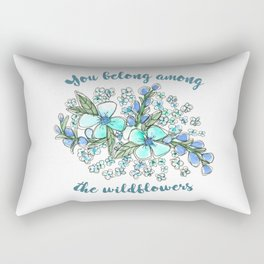 You belong among the wildflowers. Tom Petty quote. Watercolor illustration. Rectangular Pillow