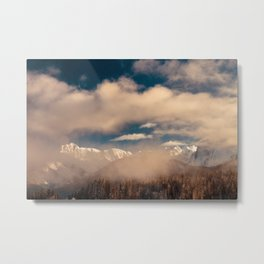 Mangart capped by the fog in a winter day Metal Print