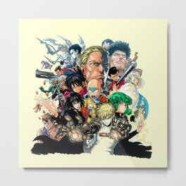 One Punch Man Characters Metal Print