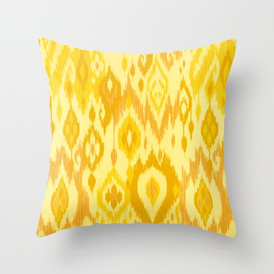 MODERN IKAT TRIBAL PATTERN yellow Throw Pillow by Cheryl Daniels Society6