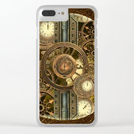 Steampunk, awesome clocks Clear iPhone Case