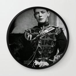 Winston Churchill, 1895 black and white portrait photograph Wall Clock