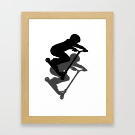 Scooter Boy - Stunt Scooter #5 Silhouette Framed Art Print