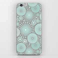Mint and grey geometric flowers iPhone & iPod Skin