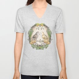 Watercolor Barn Owls in a Forest Plants and Fungi Mushroom Frame Unisex V-Neck