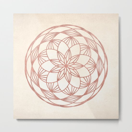 Mandala Bud Rose Gold on Cream Metal Print