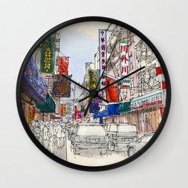 CHINATOWN, Manhattan Sketch, Colorful handmade drawing of New York Wall Clock