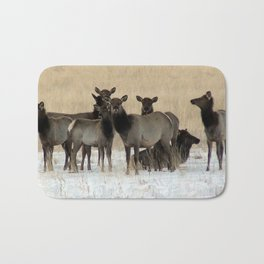Cow Elk in a Bunch Bath Mat