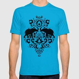Elephant Damask Black and White T-shirt