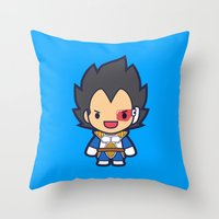 vegeta Throw Pillows featuring FunSized Vegeta by Papyroo