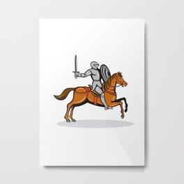 Knight Riding Horse Cartoon Metal Print