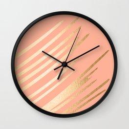 Sweet Life Swish Peach Coral + Orange Sherbet Wall Clock
