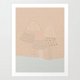 Stitched Mushrooms Art Print
