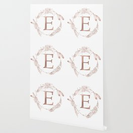 Letter E Rose Gold Pink Initial Monogram Wallpaper