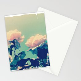 Soft Baby Pink Roses with Mint Blue Sky Backgroud Stationery Cards