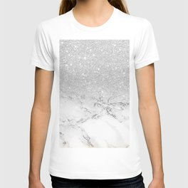 Modern faux grey silver glitter ombre white marble T-shirt