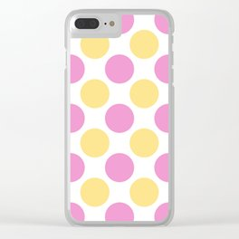 Yellow and pink polka dots Clear iPhone Case