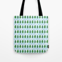 Watercolor Pine Forest Painting Snowing Christmas  Tote Bag