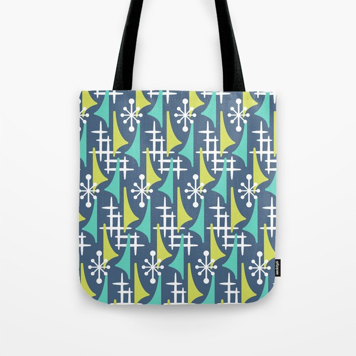 Mid Century Modern Atomic Wing Composition 55 Blue Turquoise and Chartreuse Tote Bag