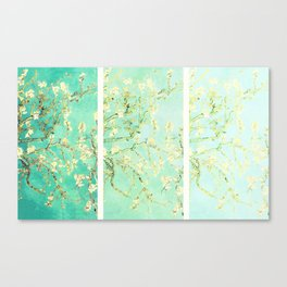 Vincent Van Gogh Almond Blossoms Panel art Aqua Green Canvas Print